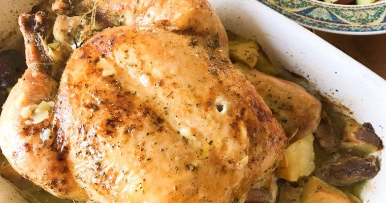 Greek Lemon and Garlic Roast Chicken and Potatoes