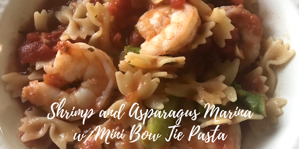 Shrimp and Asparagus Marinara with Mini Bow Tie Pasta