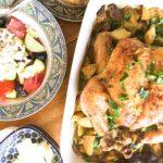 Greek Lemon and Garlic Roast Chicken and Potatoes, Greek Salad, and Kefalograviera Cheese