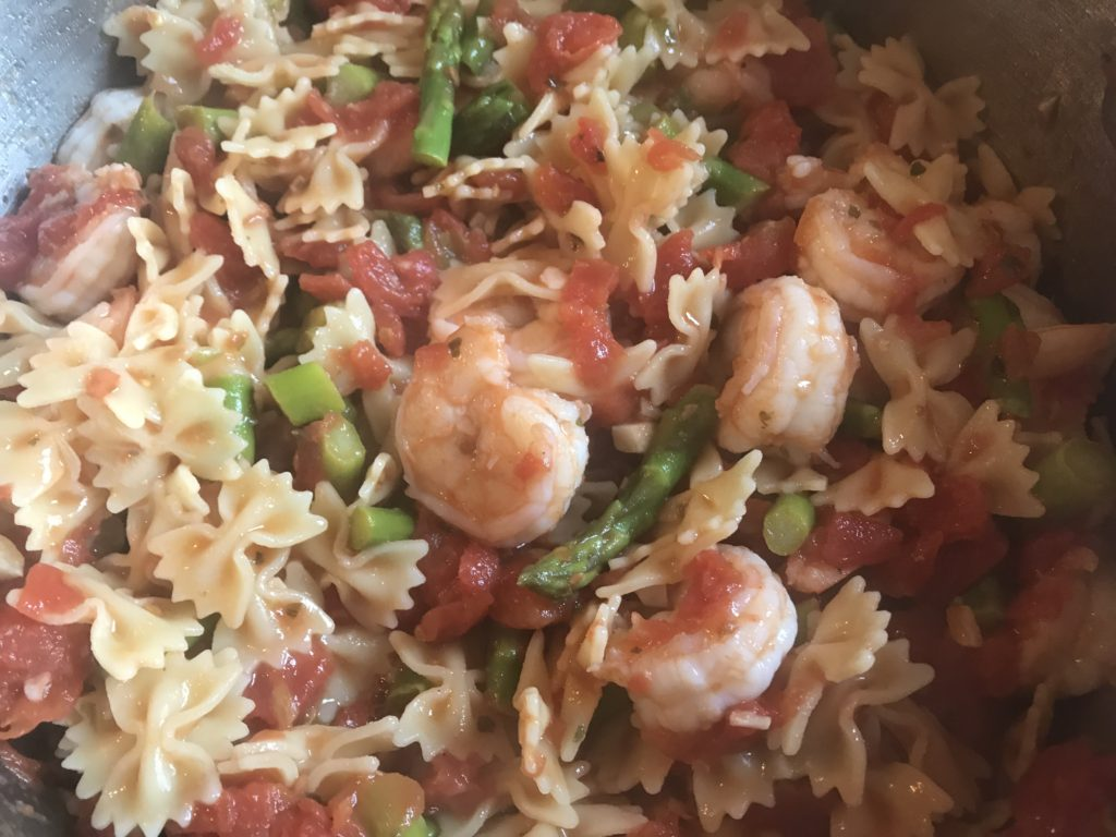 Shrimp Asparagus Marinara with Bow Tie Pasta