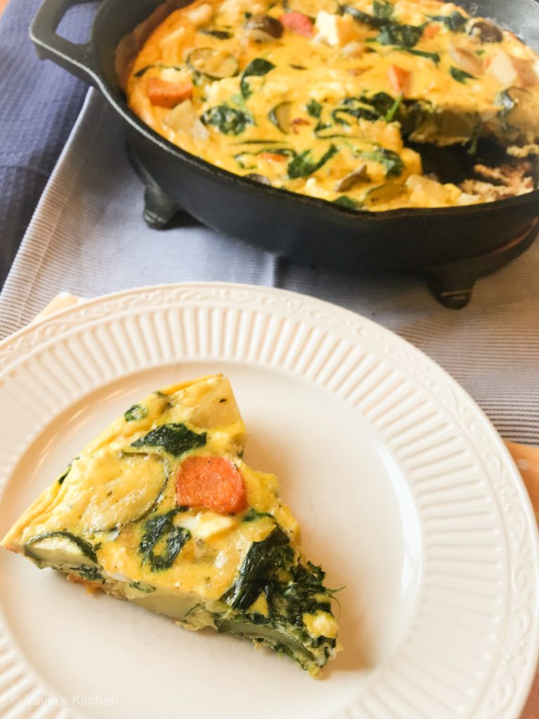 delicious roasted vegetable frittata