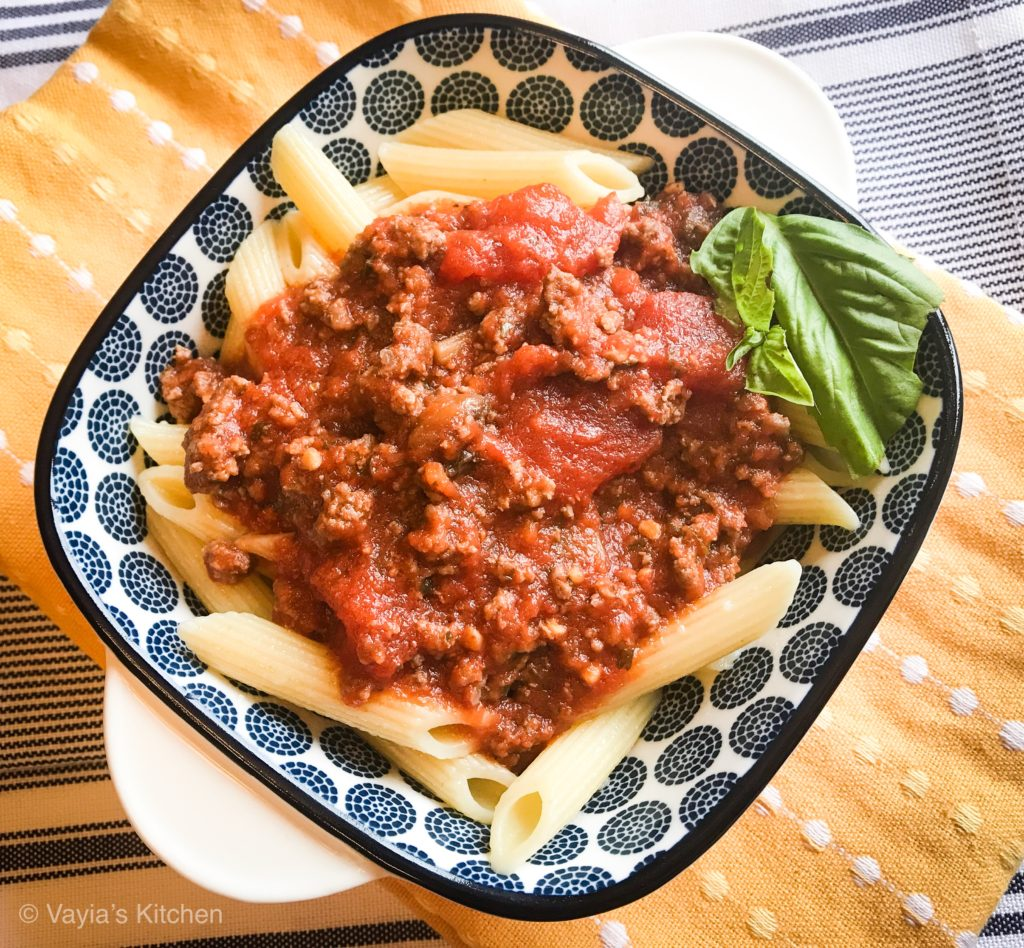 Easy Penne with Meat Sauce Recipe by Vayia's Kitchen