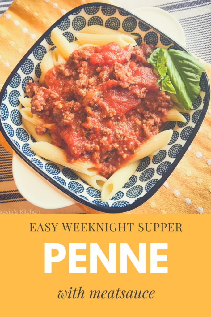 penne pasta with meatsauce