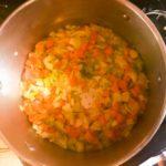 Saute vegetables on medium high heat