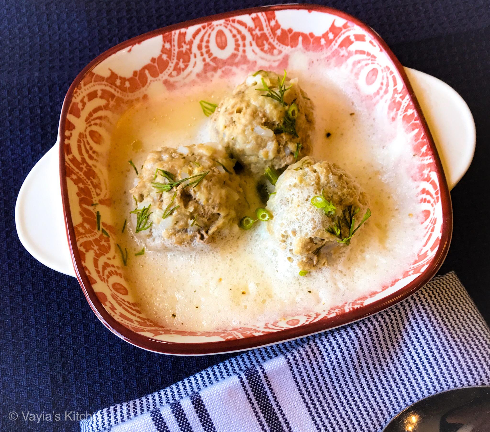 Youvarlakia Avgolemono (Greek Egg Lemon Meatball Soup)