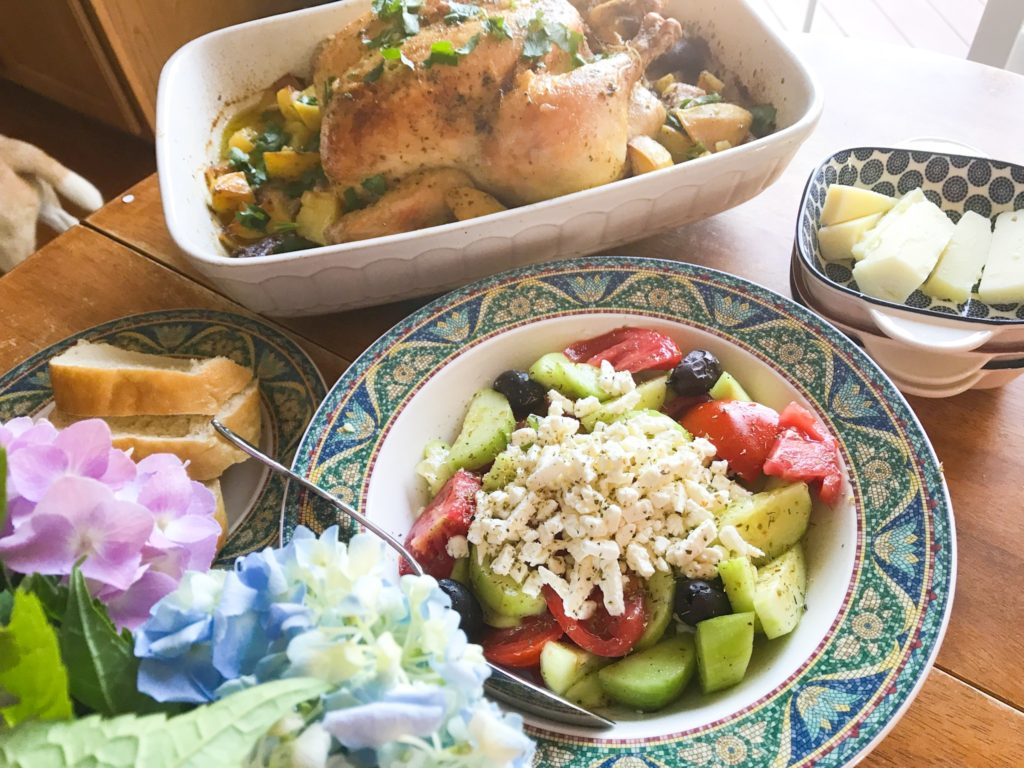 Lemon and Garlic Roast Chicken and Potatoes and Traditional Greek Salad