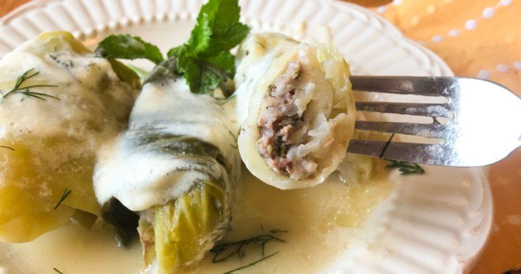 Lahanodolmades Avgolemono (Greek Stuffed Cabbage Rolls)