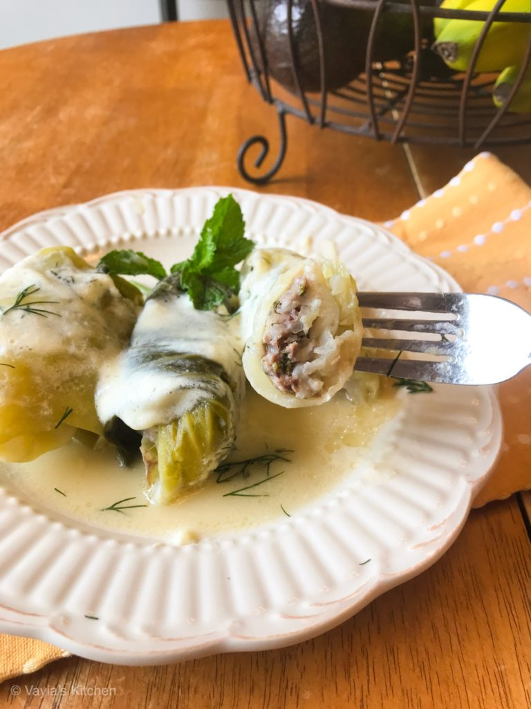 Lahanodolmades Greek Stuffed Cabbage Rolls
