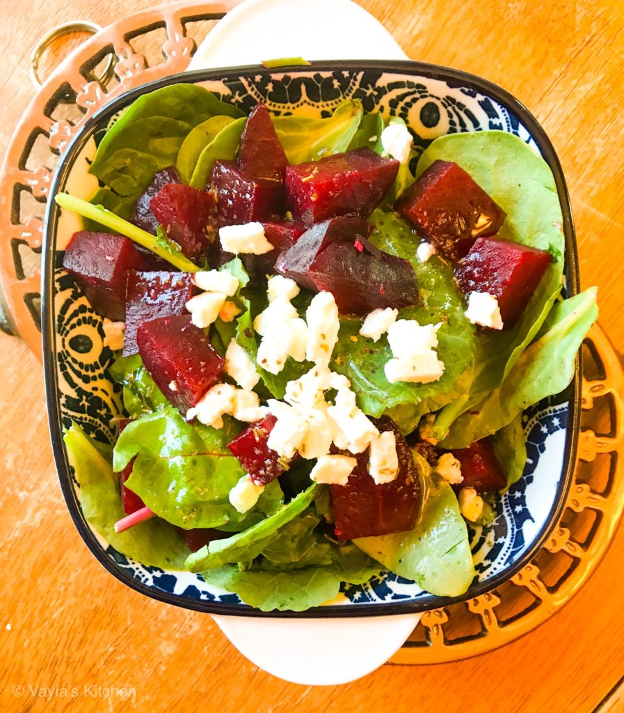 roasted beet salad with feta vayia's kitchen