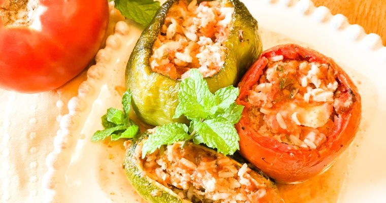 Greek Stuffed Vegetables (Yemista) with Ground Turkey and Rice