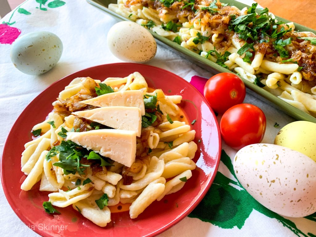 Traditional Greek Pasta with Caramelized Onions